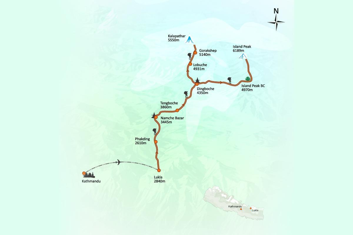 Everest Base Camp Trek 14 Days Trip Route Map