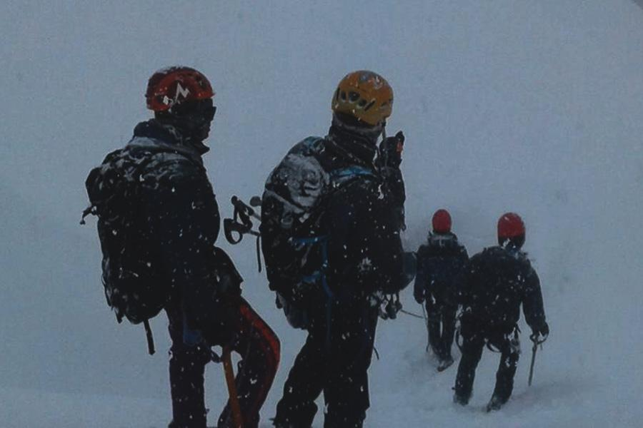 Heading back to base camp after summit