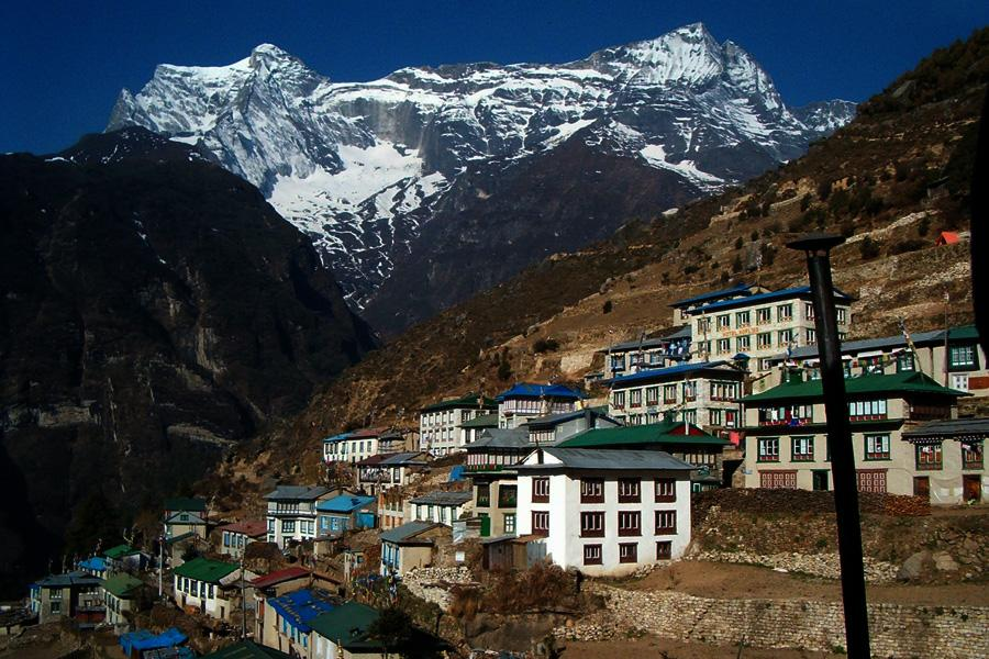 View of Kongde Peak from Namche Bazaar