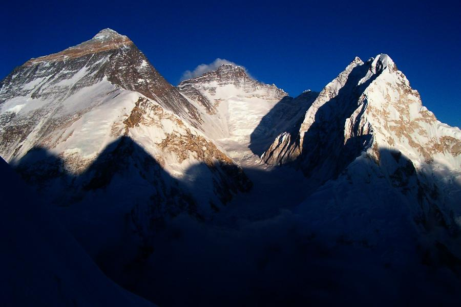 View of world's tallest peak Mount Everest, Lhotse and Nuptse.