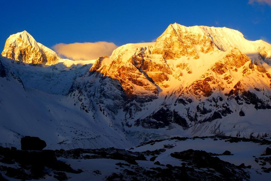 Larkya Peak and surrounding mountains