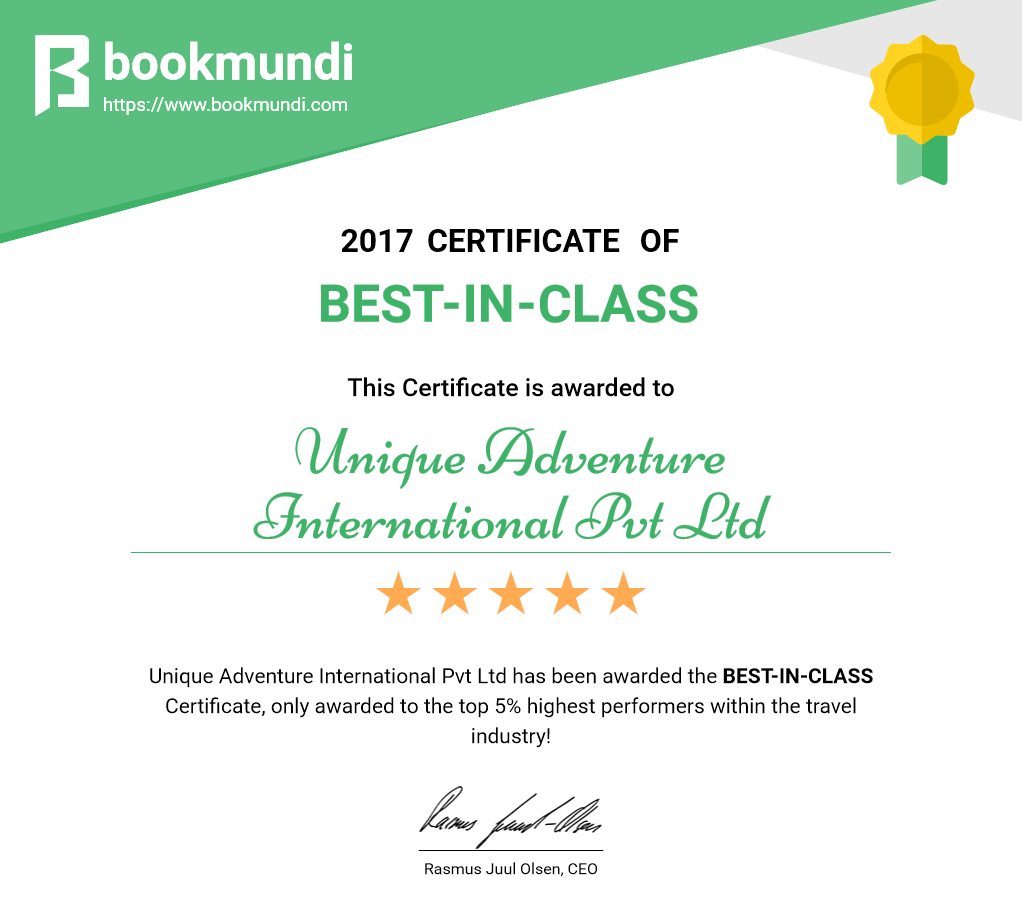 2017 CERTIFICATE OF Best-in-Class This Certificate is awarded to Unique Adventure International Pvt Ltd