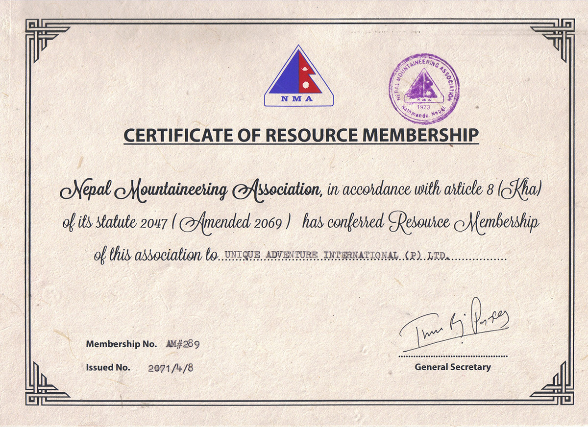 Certificate of affiliation with Nepal Mountaineering Association (NMA)