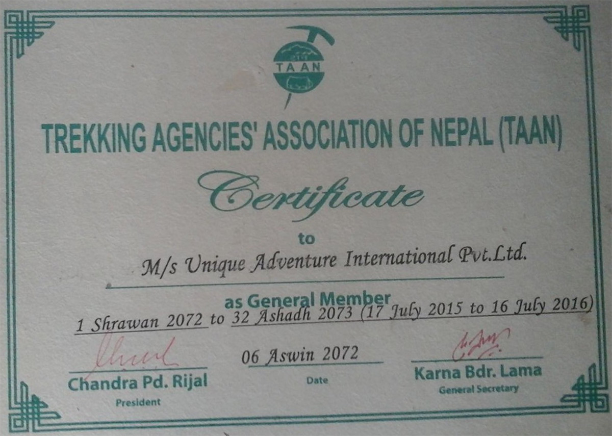 Certificate of affiliation with Trekking Agencies' Association of Nepal (TAAN)